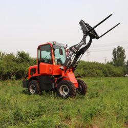 중국 라데더 Zl08 Auto 800kg 작은 정원 뉴마인 Carregadeira Lown 모어 트랙터 전방 핸들 미니 휠 로더(운전실 포함