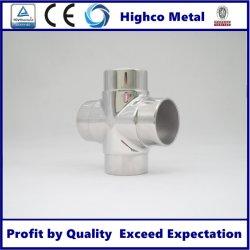 Tuyau en acier inoxydable de gros de la main courante à 4 voies du connecteur de tube carré du coude