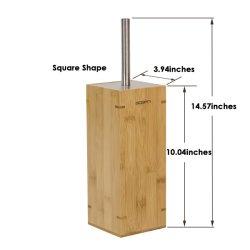 Wc Cepillo de limpieza de la madera de bambú de acero inoxidable Porta Cepillo de taza del inodoro