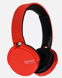 مشغل رقمي محمول أحمر اللون باستخدام سماعة رأس لاسلكية فوق الأذن مع قارئ بطاقات FM وTF