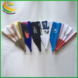 23cm Einfarbige, Faltbare Handlüfter aus Stoff mit Kunststoffrippen