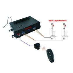 Dois accionadores se movendo em 100% do atuador linear Síncrono Controlador Remoto