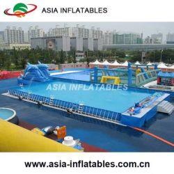 El cuadrado grande de PVC inflable enmarcadas de Metal Piscina portátil paragolpes