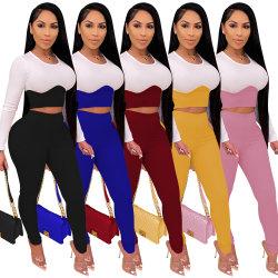 2021 Les nouveaux arrivants Sexy Étoffes de bonneterie de blocage de couleur Top Slim costume des femmes en deux pièces