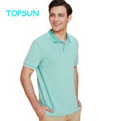 La camicia di polo per gli uomini progetta la maglietta per il cliente di polo del manicotto di Short del cotone di colore solido di marca