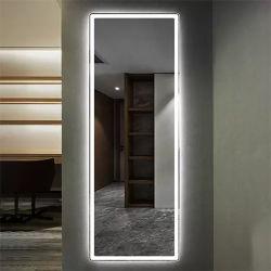 صالون تجميل الشعر مضاء مرآة إطار كامل الطول LED الجدار شركة تصنيع المرايا بالجملة في الصين