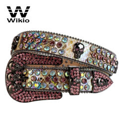 Western Cowgirl pelle rhinestone cintura con borchie Luxury Cowboy pelle bling Cintura da strass