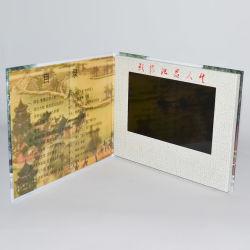 Hardcover fabricant chinois de 7 pouces de la vidéo des cartes de voeux personnalisée