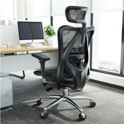 Chino moderno Swivel cómodo Sihoo M57 Alta espalda ergonómico Negro Silla de oficina de malla ejecutiva con reposabrazos ajustable PU para computadora