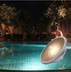 Piscina lâmpada LED subaquática de alumínio leve 12V 75W PAR56 COB branco quente <Sb9003>