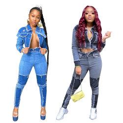 En Stock el otoño de las niñas de la moda de Otoño 2021 Plain Bodycon corta dos piezas de ropa de mujer ropa Jeans Set