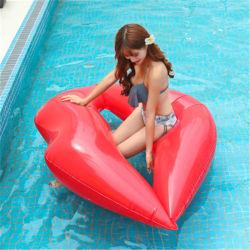 뜨거운 세일 팽창식 립 수영 시트 링 레드 립 팽창식 플로팅 침대 성인 수영 플로팅 로우