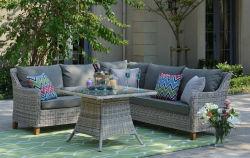Mobiliário de exterior Patio define, All-Weather Pequeno Sofá transversal de vime com mesa de chá&lavável almofadas da cama&Upgrade (Vime Vime Preto)