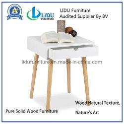 Decoración de dormitorios de cabecera de madera muebles de cajones de almacenamiento de mesita de noche con cajón de la tabla de color blanco
