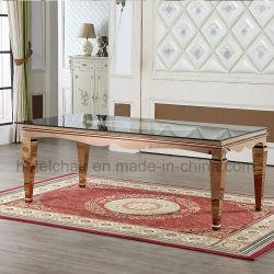 La Chine en or rose en acier inoxydable supérieur en verre Table à manger et chaises