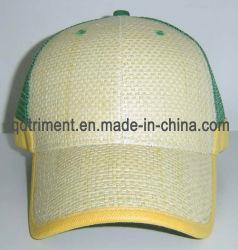 Plaine de haute qualité de la paille maille avant arrière Sport camionneur Golf Hat (paille)
