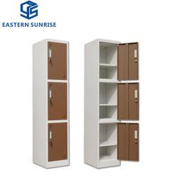 3つのドアが付いている中国の高品質3のドアの金属の収納キャビネット/優雅な金属のワードローブ