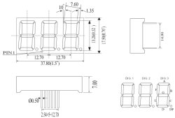 0,52 дюйма три цифры 7-сегментный светодиодный дисплей с пускателем цепей мультиплексной сети