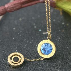 مجوهرات النساء من الفولاذ المقاوم للصدأ أزياء الأزياء كريستال شأرز عقد قلادة