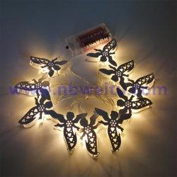 도매가 크리스마스 훈장 LED 금속 천사 화환 빛 끈