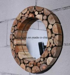Производитель пользовательские ретро сделать старого дерева натурального раунда наружного зеркала заднего вида в ванной комнате отеля украшают вестибюль Metope (M-X3757)