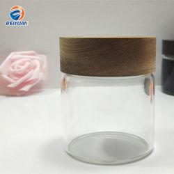 150ml paquet alimentaire Jar Jar de stockage en plastique clair Pet avec couvercle en bambou