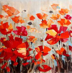 Handgemachte moderne rote Blumen-Bereich-Ölgemälde für Hauptdekor