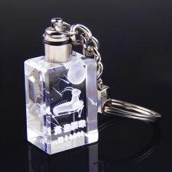 Llavero de cristal regalos el logotipo de la promoción láser LED llavero de cristal