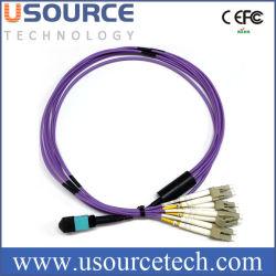 MPO-4X LC ブレークアウトパッチコード、光ファイバ