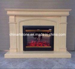 Cheminée en marbre de couleur beige simple pour la décoration des chambres