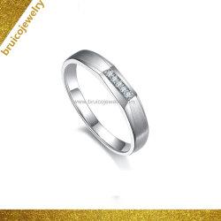 Anello di diamante classico del Rhodium di colore dell'oro bianco dell'anello di cerimonia nuziale di modo 18K per gli uomini