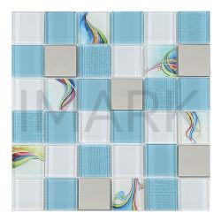 素晴らしいパターンインクジェットプリント台所Backsplashのタイル(AMKGMT2901)のためのガラス金属のモザイク