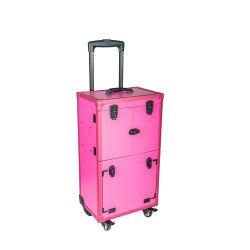 El caso de peluquería de moda con bandejas y cajones de color rosa (HB-6405)