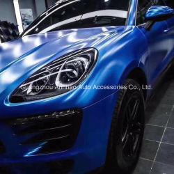 Voir auto-adhésif bleu Satin de foudre voiture s'enroule avec Bubble Free