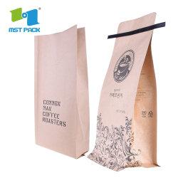 Bloc de papier d'artisanat Eco bas de l'emballage de thé biodégradable Pochette papier sacs de café avec l'étain lier le commerce de gros