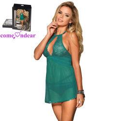 De groene Sexy Lingerie Ruglooze Halter van de Vrouwen van Babydoll van het Kant Transparante
