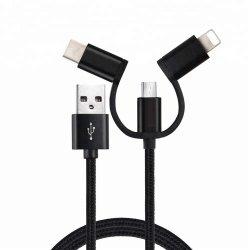 Cabo de carregamento de múltiplos 3 em 1 cabo USB carregador de cabo de sincronização de dados para iPhone / USB Tipo C / Micro USB
