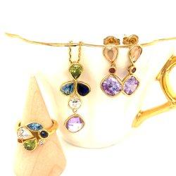 925 серебристые украшения позолоченные моды в раскрывающемся списке Multi-Color обедненной смеси ювелирные украшения ювелирных изделий для подарков