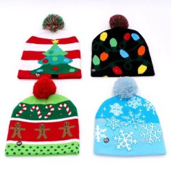 Pullover en tricot Bonnet tricoté moche Foulards Foulards vacances Light up Beanie foulard LED