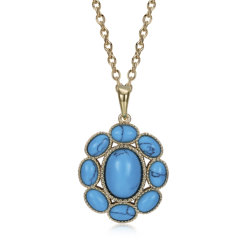 Kallaiteの吊り下げ式のネックレスの普及した花の形のPendnatのネックレスの銅の物質的なネックレスの黒の銃によってめっきされるネックレスの方法宝石類