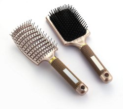 Premium punta redondeada con cepillo de pelo Aire Volum cojín Flexible curvo y Base de Detangling cepillo de pelo de barril para la Mujer de largo, grueso, fino, rizado y el cabello enmarañado