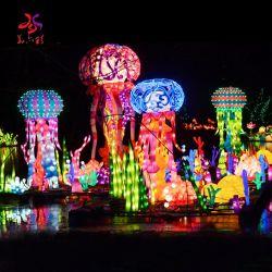 Handgemachte kundenspezifische 3D LED Motiv-chinesische traditionelle Festival-Dekoration-Seeweltqualle-Laternen
