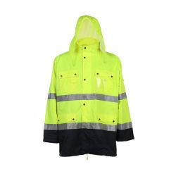 防水働くロゴデザイン安全雨ジャケットを反映する屋外の卸売