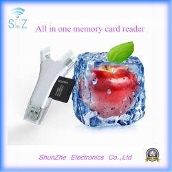iPhone Samsung 인조 인간 장치 번개 마이크로 USB USB를 위한 1명의 공용영역 TF 메모리 카드 독자에서 모두