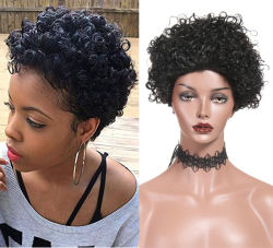 Человеческого волоса коротких вьющихся парики черный выходцев из вьющихся парики