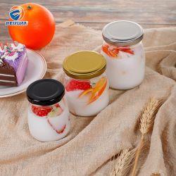 Geléia de vaso de pudim de iogurte garrafa de vidro com tampa de folha de flandres
