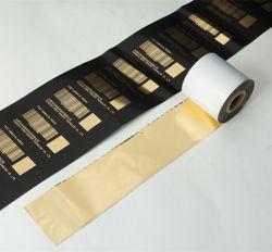 Tissu polyester ruban de satin brillant Ruban de transfert de résine d'or de l'impression