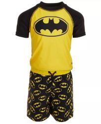 男の子のスーパーヒーローのRashguardの水泳パンツのセットされた速い乾燥した水着