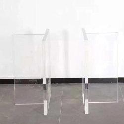 Mesa de café em vidro orgânico tipo T transparente acrílico
