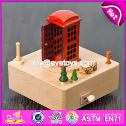 Los niños juguetes artesanales de madera de cabina de teléfono Caja de música clásica para bebés W07b054